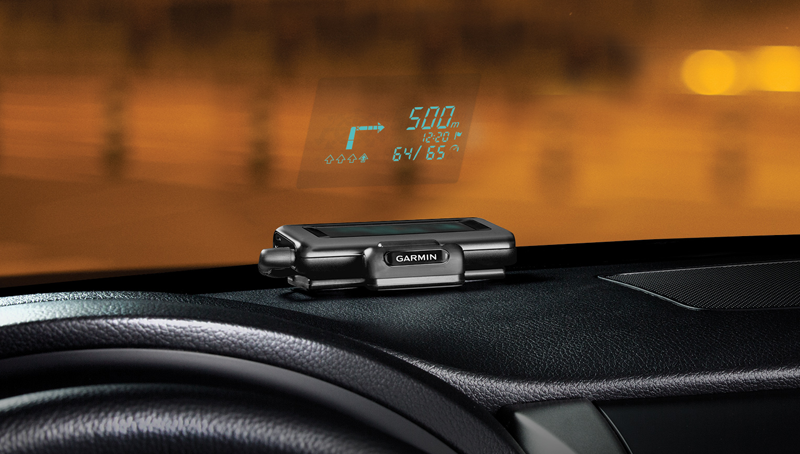 Das Garmin HUD Head-Up-Display zum nachrüsten. © Garmin Ltd.