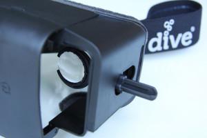 Einstellhebel für die Optik der DIVE-Smartphone-Brille © Durovis ® / Shoogee GmbH & Co. KG