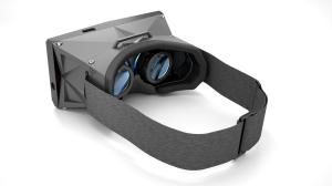 Blick auf die Optiken der vrAse Smartphone-VR-Brille © vrAse