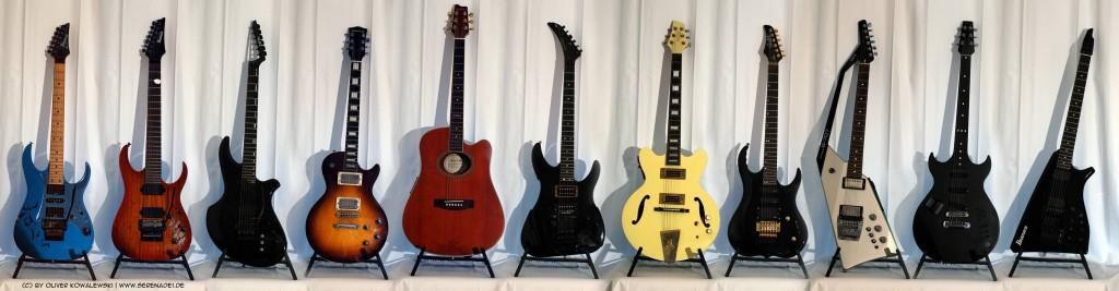 Drei integrierte Midigitarren in meinder Sammlung: Zeta Mirror 6 (3.v.l)