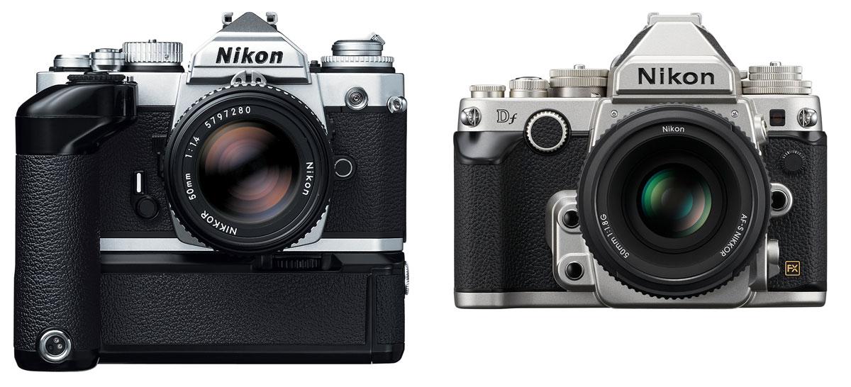 Gegenüberstellung Nikon FM3A (links) und Nikon Df. Trotz deutlich größerer Abmessungen kleineres Sucherbild bei der Df. (Bild: © Nikon GmbH)