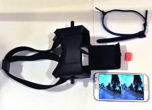 Die Hauptbestandteile neben dem Ergometer: Durovis Dive, Samsung Galaxy Note 2, Klettband und Schaumstoffstück
