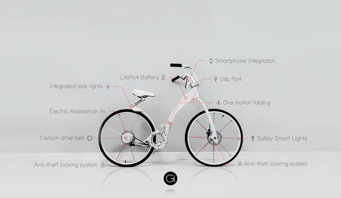 Cleveres Klapprad - das Gi Bike mit Elektroantrieb und Smartphoneunterstützung (Bild: Kickstarter/©Toledo, Augustinoy & Sevillia)