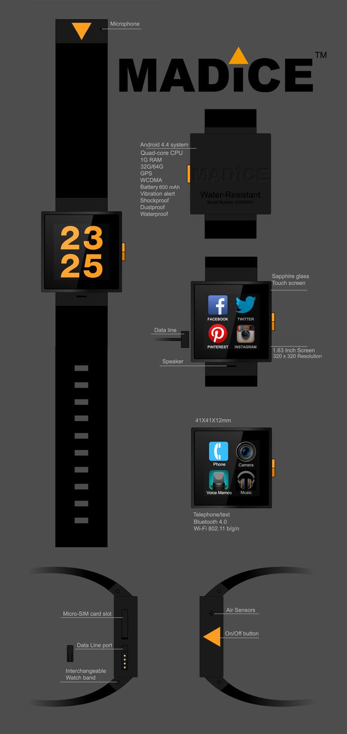 Die MADICE Smartwatch (Bild: indiegogo/ © MADICE, INC)