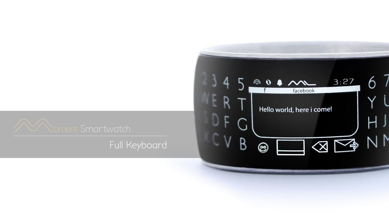 Runde Sache - die Moment Smartwatch mit 360 Grad E-Ink-Display. Hier mit eingeblendeter Tastur (Bild: © MomentumLabs LLC )