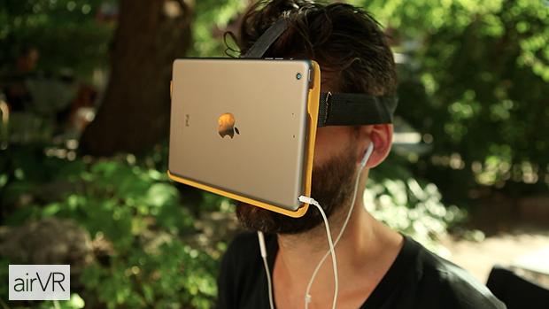 Modisch fragwürdig, aber tolle Auflösung. Das iPad Mini als VR-Brille mit AirVR (Bild: kickstarter/©Metatecture )
