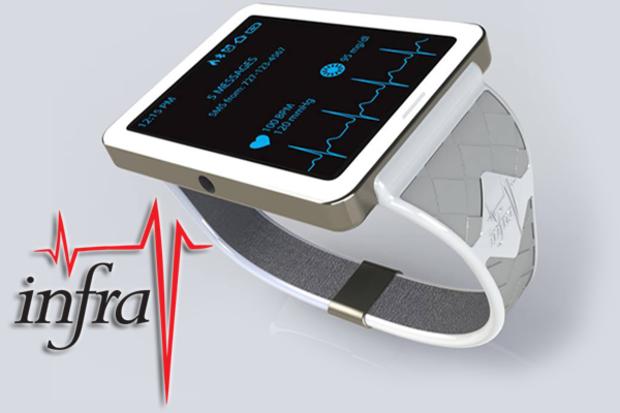Kann fast alles... wenns denn beim Kunden ankommt - die InfraV No-Blood Glucose-Überwachungs-Smartwatch (Bild: indiegogo/© infra-V Technologies Inc. )
