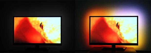 Der Unterschied zu einem nicht rückbeleuchtetem TV (Bild: indiegogo/©lab-team.com)