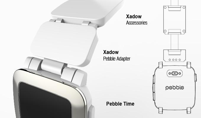 Modulares Armband aus Xadows-Modulen von Seed Studio für die Pebble Time (Bild: kickstarter/Pebble/Seeed Studio)