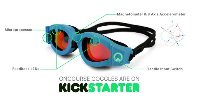 Schwimmbrille mit Geradeaus-Hilfe - Oncourse Google (Bild: kickstarter / ©OnCourse Goggles)
