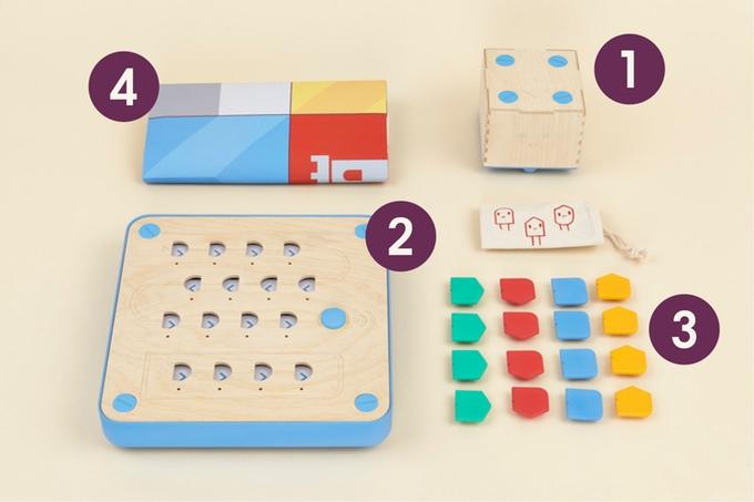 Roboter, Programmierbrett, Programmsteine und Spielplan (Bild: kickstarter/© primotoys.com)